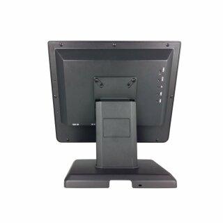 "MA150VP, 15"" Rahmenloser LCD Monitor, Metallgehäuse, VGA, HDMI, DVI, PCAP Touch (USB), Standfuß, VESA 100x100, Farbe: Rahmen silber, Rückschale schwarz"